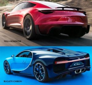 Tesla Roadster vs Bugatti Chiron zozadu