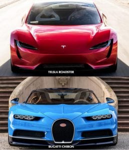 Tesla Roadster vs Bugatti Chiron spredu