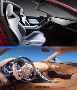 Tesla Roadster vs Bugatti Chiron interiér