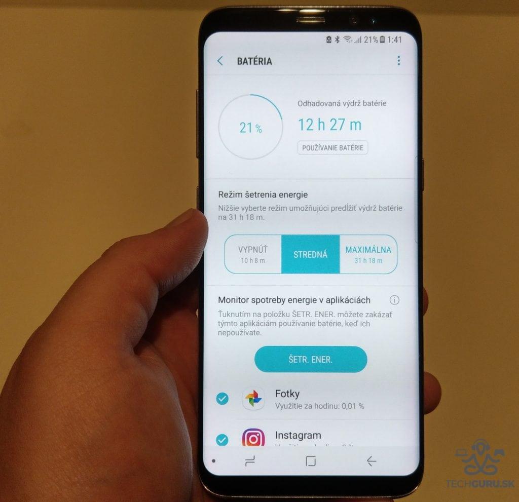 Samsung Galaxy S8 šetrenie batérie
