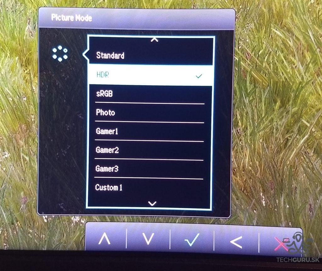 BenQ EX3501R skrátené menu