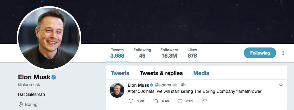 Elon Musk predáva plameňomety 01