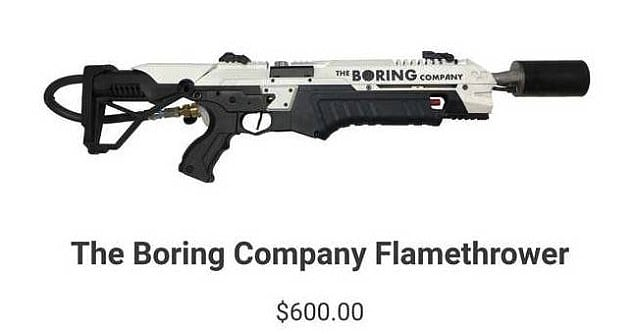 Boring Company plameňomet - flamethrower