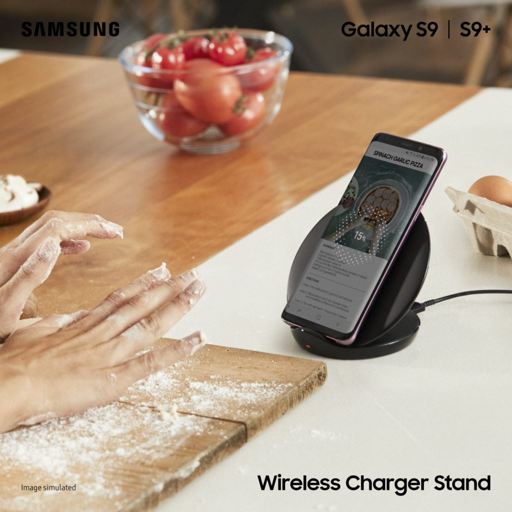 Samsung Galaxy S9 a S9+ Wireless Charger Stand_Black_with Logo (1x1)
