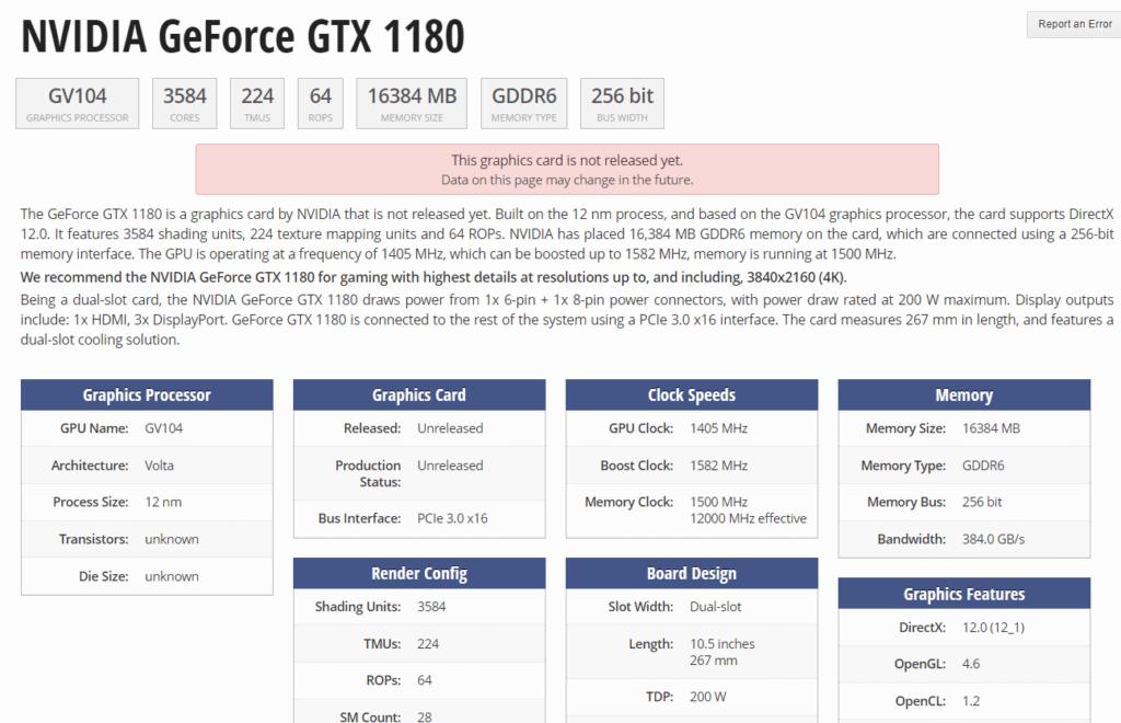 NVIDIA chystá novú grafiku GTX1180 parametre