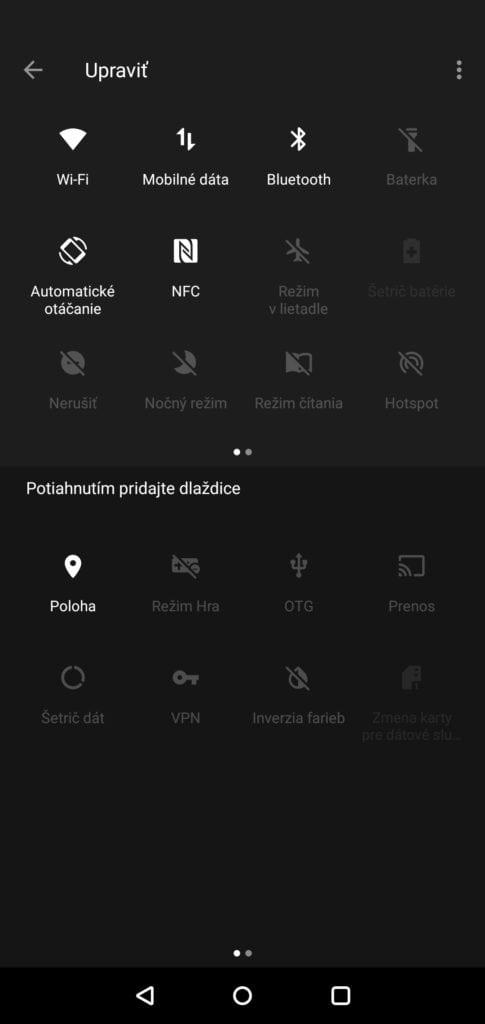 Snímok obrazovky z rýchlych nastavení na OnePlus 6.
