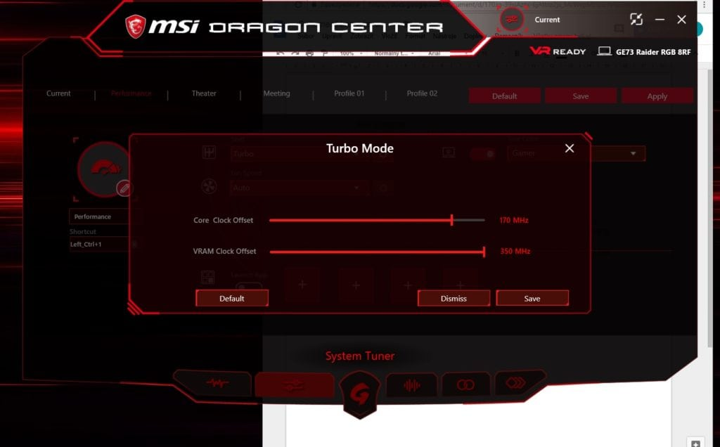 MSI Dragon center tuning