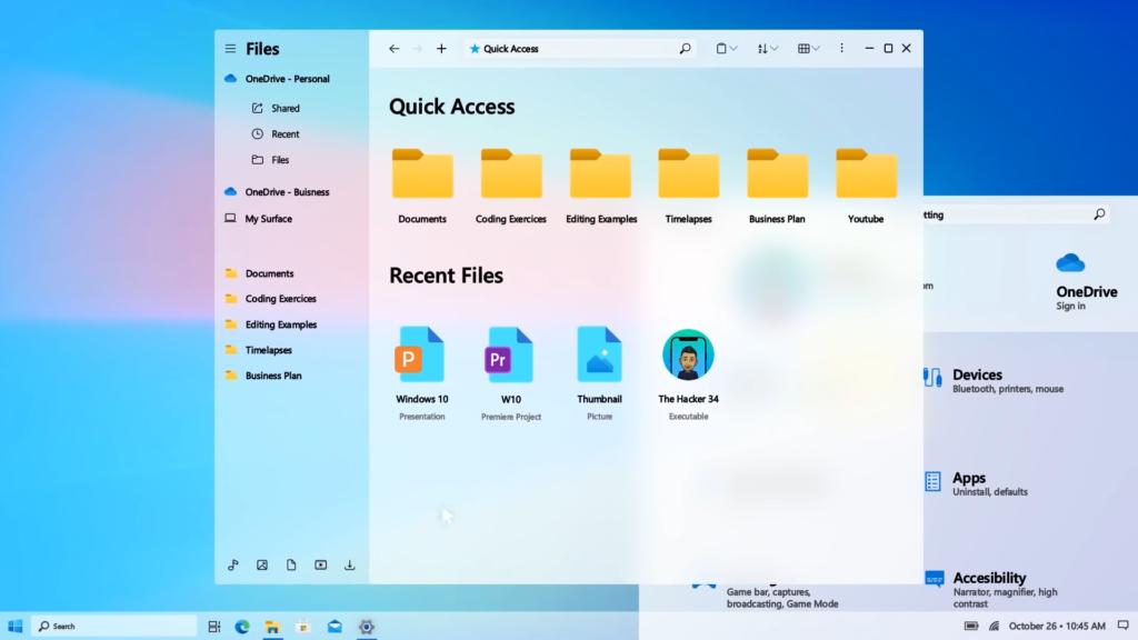 Náhled do Windows 10 Sun Valley