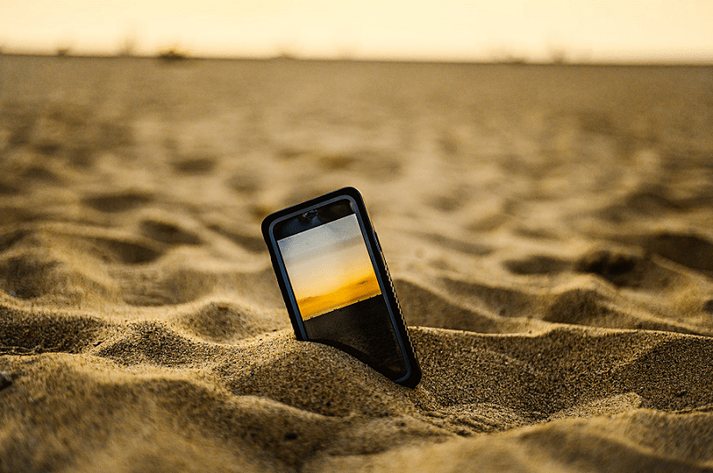 mobile on beach